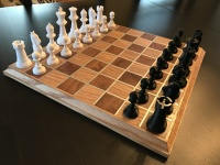 3d-printed Chess Set with Oak and Mahogany Board
